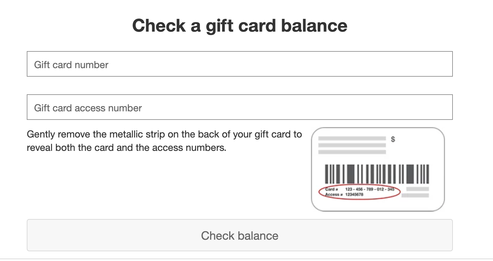 Target gift card checker page